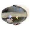 Glass Lamp Bead 14x10mm Oval Black Diamond